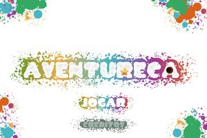 Tela de título do novo jogo, com Aventureca escrito no centro e dois botões, jogar e créditos.