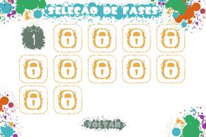 Tela de seleção de fases, contendo fases trancadas por cadeados e apenas a primeira fase aberta. Botão Voltar na base da tela.